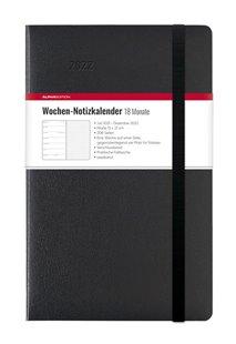 Bild von ALPHA EDITION (Hrsg.): Wochen Notizkalender 18 Monate groß Black 2022 - Taschen-Kalender 13x21 cm - mit Verschlussband & Falttasche - Juli 2021 bis Dez 2022 - Weekly - 128 Seiten
